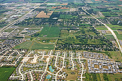 Aerial image of central Mount Pleasant (2009)