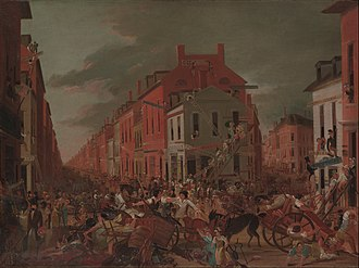 Moving Day (New York City) - Moving Day in Little Old New York, satirical painting, c.1827