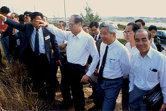 Shantou University - Mr. Li Ka-shing inspecting STU's construction site.
