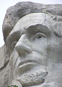 Mt. Rushmore, Abraham Lincoln closeup. Taken f...