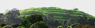 Pā - Terraces on Maungawhau / Mount Eden, marking the sites of the defensive palisades and ditches of this former pā