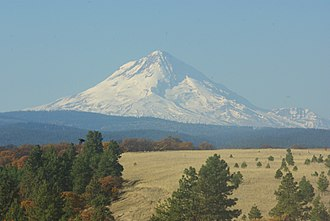 Barlow Road - A fall view from central Wasco County that travelers would have seen approaching Mount Hood from the east along the Barlow Road—taken above Pine Hollow