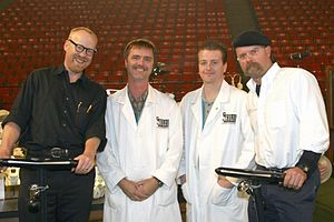 MythBusters - At the Discovery Channel Young Scientist Challenge posing with Skulls Unlimited International's Jay Villemarette and Joey Williams in 2004