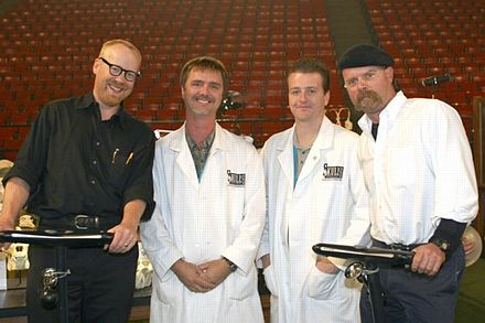 Mythbusters wikiwand at the discovery channel young scientist challenge posing with skulls unlimited internationals jay villemarette and joey malvernweather Gallery