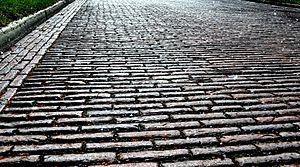 Red Brick Roads - NE Maple Street, north view. (close-up)