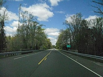 New Jersey Route 49 - Route 49 westbound crossing the Tuckahoe River into Estell Manor.