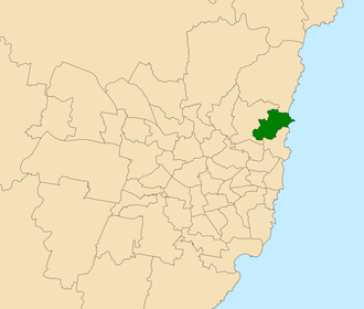 Electoral district of Wakehurst - Location within Sydney