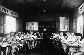 Sde Nahum - 1947 photo of Nahum classroom from Palmach archive