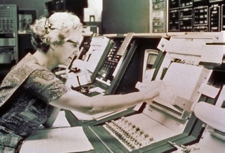 Roman sits at the control console for the Orbiting Astronomical Observtory satellite, launched in 1972 and nicknamed Copernicus. This is a publicity picture; she never actually worked in the Goddard control room. Nancy Roman Control Console.jpg