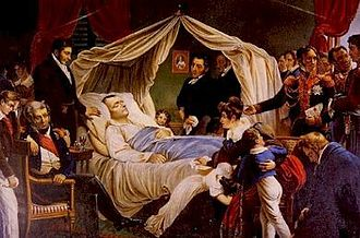 """François Carlo Antommarchi - """"Death of Napoleon"""", by Charles de Steuben, 1828. Dr Antommarchi is standing next to Napoleon with his hand on the pillow."""