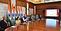 Narendra Modi at the launch of connectivity projects between India and Bangladesh, via video conferencing with the Prime Minister of Bangladesh, Ms. Sheikh Hasina and the Chief Minister of West Bengal, Ms. Mamata Banerjee.jpg