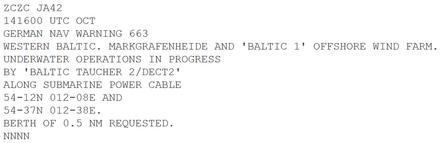 תוצאת תמונה עבור navtex message example