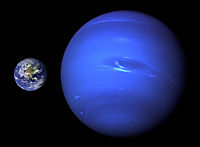 Comparison of the size of Neptune and Earth