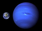 A size comparison of Neptune and Earth.