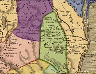 New Kingdom of León - Map of the former provinces of New Spain, depicting the New Kingdom of León (highlighted green).