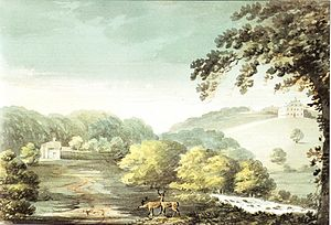 "Newnham Park - ""Nuneham, seat of ... Stroud Esq."", 1797 watercolour of Newnham Park (mansion house far right) by Rev John Swete (1789-1800). Devon Record Office 564M/F13/73"
