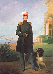 Nicholas I of Russia with dog by G.Botmann.jpg