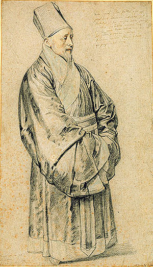 João Rodrigues Tçuzu - Rubens's sketch of Rodrigues's contemporary missionary Nicolas Trigault in mandarin robes.