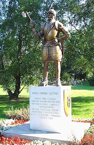 Knight of the Golden Spur (Holy Roman Empire) - Monument to Nikola Šubić Zrinski, note gilded (gold) armor
