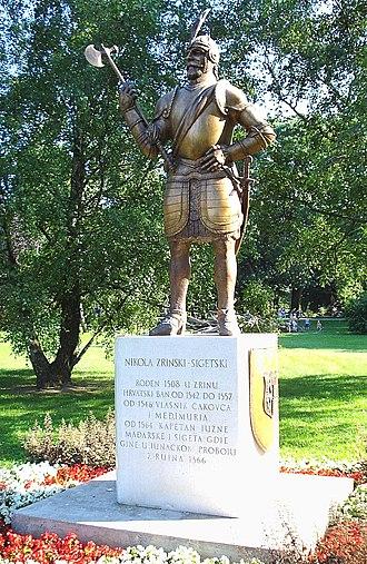 Knight of the Golden Spur (Holy Roman Empire) - Monument to Nikola Šubić Zrinski, note gilded (gold) armor