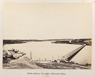 Glebe Island - The original Glebe Island Bridge, photographed in 1878-9, looking South West from Pyrmont to Rozelle Bay and Glebe Island (on Right).