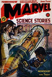 Marvel Science Stories илму-фантастика журналны тышы, 1939 джылны апрель-майындан номери