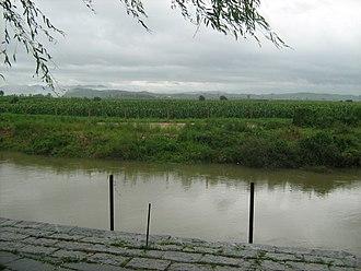 China–North Korea border - The border at the Yalu River delta near Dandong in 2012
