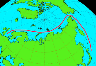 Chief Directorate of the Northern Sea Route - Depiction of a northern sea route between Europe and the Pacific
