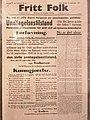 "Norway's Resistance Museum, Oslo - ""Fritt Folk"" September 10, 1941 - State of emergency in Oslo - Lightened, strechted version of photo 2017-11-30.jpg"