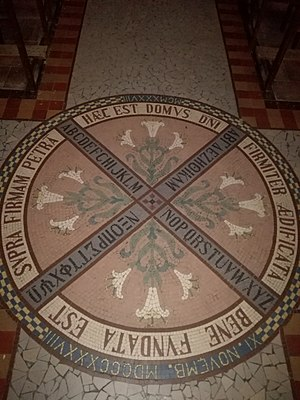 Dedication - Mosaic showing the Greek and Latin alphabets in Notre-Dame de la Daurade, France