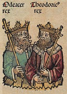 Les rois Odoacre et Théodoric, extrait des Chroniques de Nuremberg XVesiècle