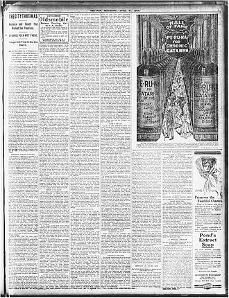 "William Henry Irwin - First installment of Irwin's series ""The City That Was"" as it appeared in The New York Sun Saturday, April 21, 1906, page 5."