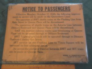 BMT Astoria Line - A poster describing the changes at Queensborough Plaza in 1949