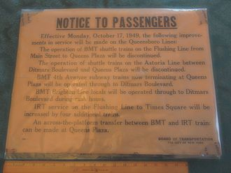 IRT Flushing Line - A poster describing the changes at Queensborough Plaza in 1949
