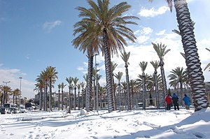 Old City (Jerusalem) - Old City promenade in snow, 2008