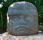 One of the famous Olmec head statues.