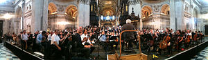 London Symphony Chorus - The LSC rehearsing with Sir Colin Davis and the LSO for a 2012 performance of Berlioz Requiem in St Paul's Cathedral
