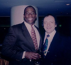 Opera star Stacey Robinson (left) with conductor John Demain in Tokyo in 1995.jpg