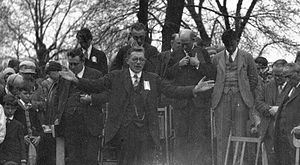 Otto Fetting - Otto Fetting on April 6, 1929 praying at a groundbreaking ceremony for a proposed Temple.