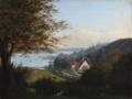 P. Steenbock - Parthie bei Flensburg. Der flages med Dannebrog ved Flensborg Fjord - 1852.png