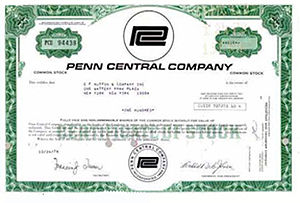 Penn Central Transportation Company - PC post-bankruptcy stock certificate, 1974.