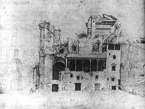 Serapeum - Sketch of Palazzo Colonna (1534-1536) by Marten van Heemskerck showing the remains of the ancient Temple of Serapis.