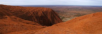 Uluru - Panorama from the top of Uluru, showing a typical gully