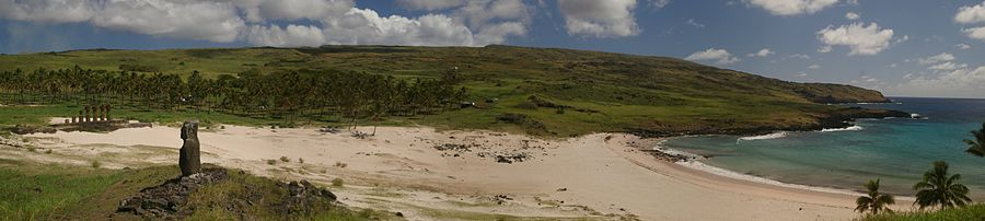 Colour photo showing a sandy beach with edge of the sea on the far right, and an ahu with several moai on the far left. Background is a grassy slope with a palm tree grove at the foot, foreground is a grassy area with a lone Moai