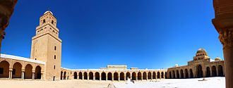 Panorama - Panorama of the inner courtyard of the Great Mosque of Kairouan, in Tunisia