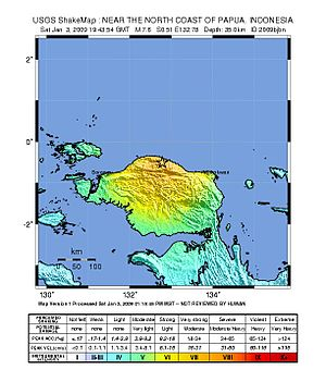 2009 Papua earthquakes - Image: Papua earthquake shakemap
