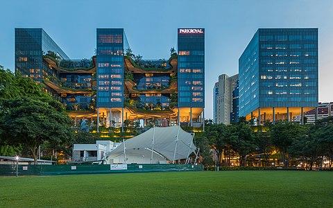 Park Royal on Pickering at dusk from Hong Lim Park Singapore