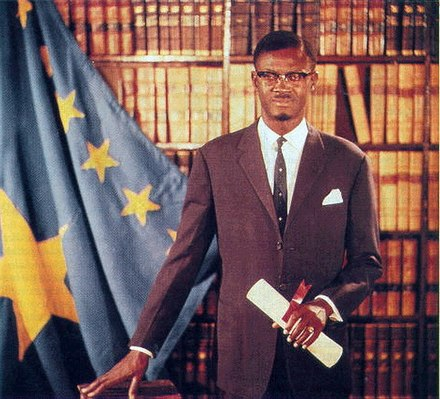 Patrice Lumumba, first democratically elected Prime Minister of the Republic of the Congo (Leopoldville), was murdered by Belgian-supported Katangan separatists in 1961 Patrice Lumumba official portrait.jpg