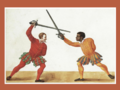 Paulus Hector Mair.- Two fencers, one of African descent, wielding an early rapier De arte athletica, Augsburg, Germany, ca 1542.png