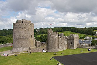 Pembroke Castle - Pembroke's Great Keep viewed from the south with the inner ward behind